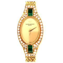 Vacheron Constantine Vintage Diamond and Emerald 18 Karat Ladies Watch