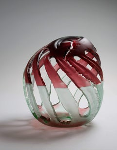 """Element 10""  Abstract Blown Glass Sculpture Featuring Red and Green"