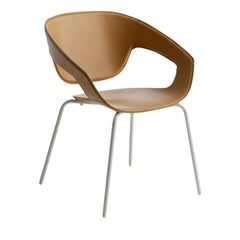 Vad Leather Chair with Metal Legs by Luca Nichetto