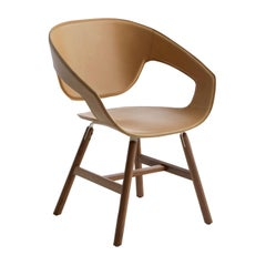 Vad Leather Chair with Wood Legs by Luca Nichetto
