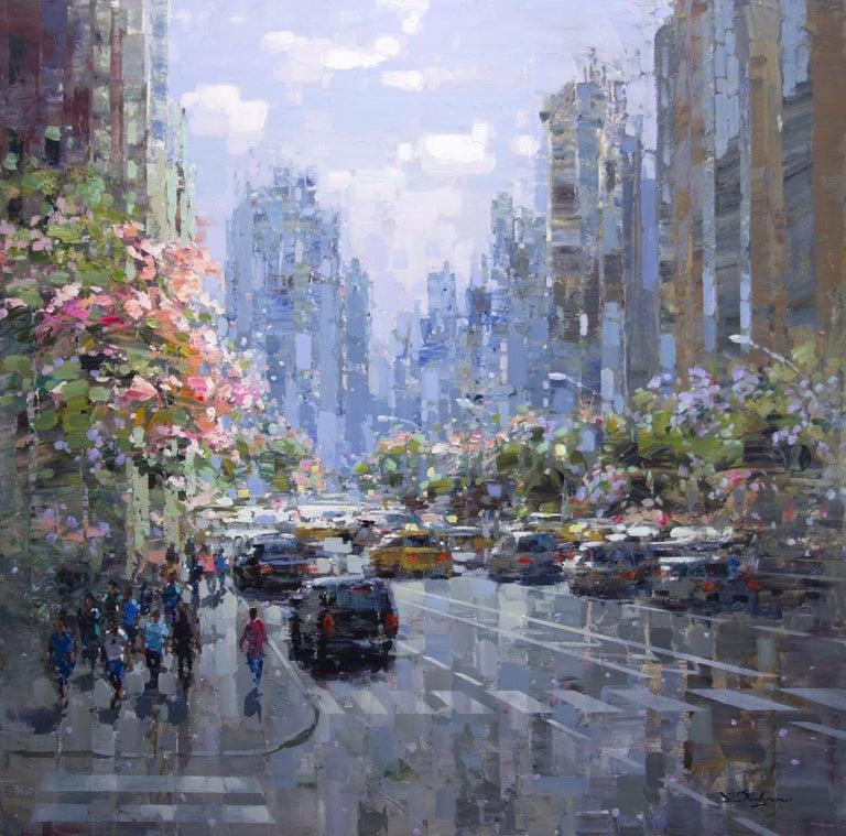 "Vadim Dolgov Figurative Painting - ""City, Spring Time,"" Acrylic Painting"