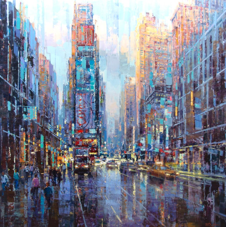 """Vadim Dolgov Figurative Painting - """"Late Afternoon in Manhattan,"""" Acrylic Painting"""