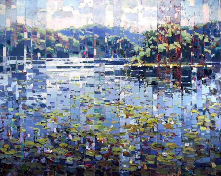 "Vadim Dolgov Landscape Painting - ""Little Pads,"" Acrylic Painting"
