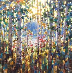 """Sunset Birch,"" Acrylic Painting"