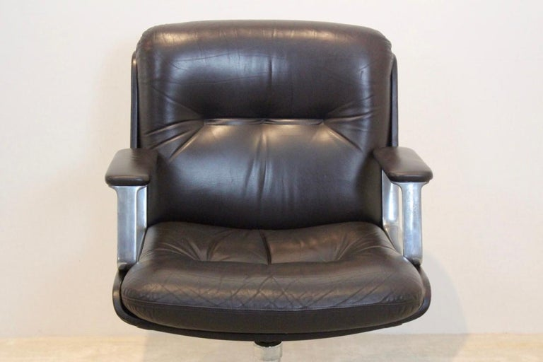 Vaghi Executive Leather Swivel Chair, Italy For Sale 3