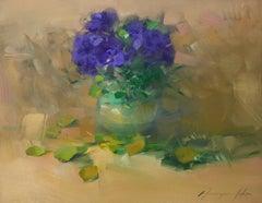 African Violet, Original Oil Painting, Handmade Artwork