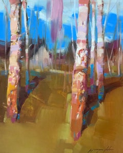 Birches Grove, Landscape Original Oil Painting on Canvas