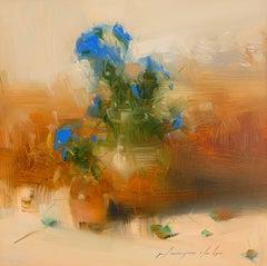 Blue Flowers, Original Oil Painting, Handmade Artwork