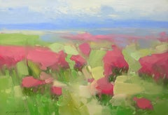 Blushing Field, Original Oil Painting, Handmade Artwork