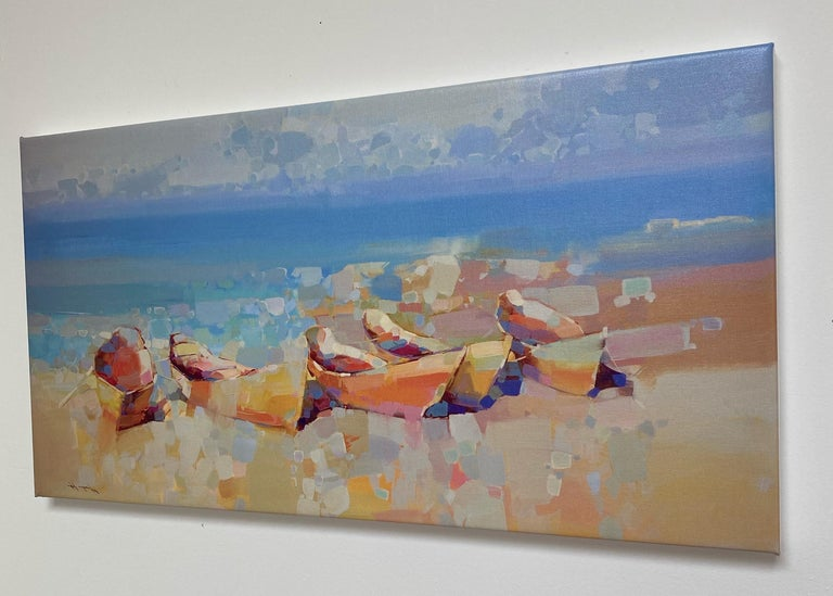 Boats on the Shore, Print on Canvas - Painting by Vahe Yeremyan