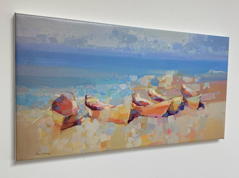 Boats on the Shore, Print on Canvas - Impressionist Painting by Vahe Yeremyan