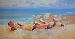 Boats on the Shore, Print on Canvas