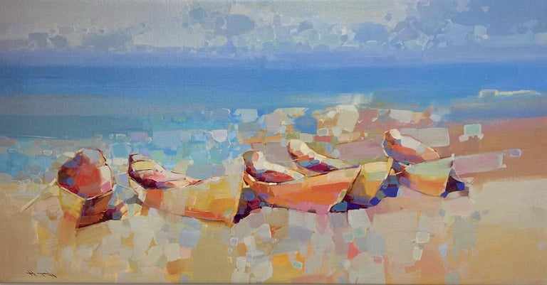 Vahe Yeremyan Landscape Painting - Boats on the Shore, Print on Canvas