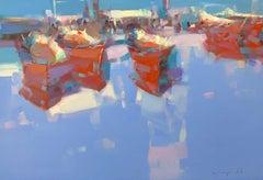 Boats Reflection, Original Oil Painting, Handmade Artwork