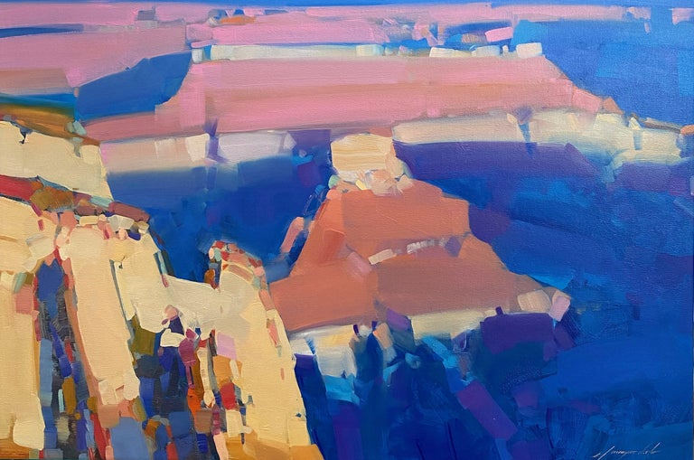 Vahe Yeremyan Landscape Painting - Canyon Sunset, Original oil Painting, Ready to Hang