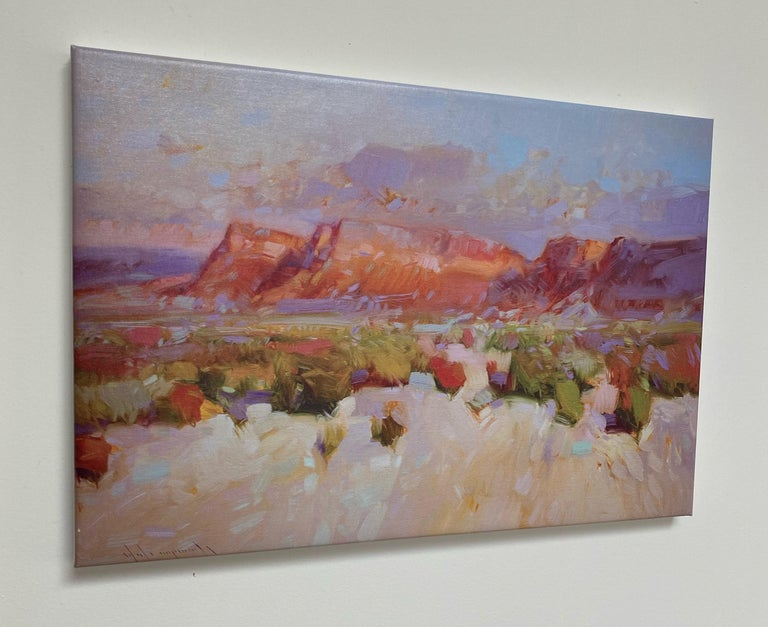 Canyon View, Print on Canvas - Gray Landscape Painting by Vahe Yeremyan