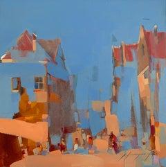 City Mood, Original Oil Painting, Handmade Artwork