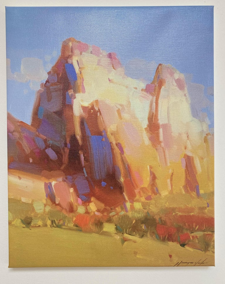 Cliff Mountain, Print on Canvas - Painting by Vahe Yeremyan