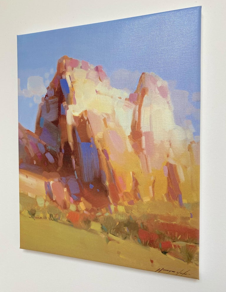 Cliff Mountain, Print on Canvas - Impressionist Painting by Vahe Yeremyan