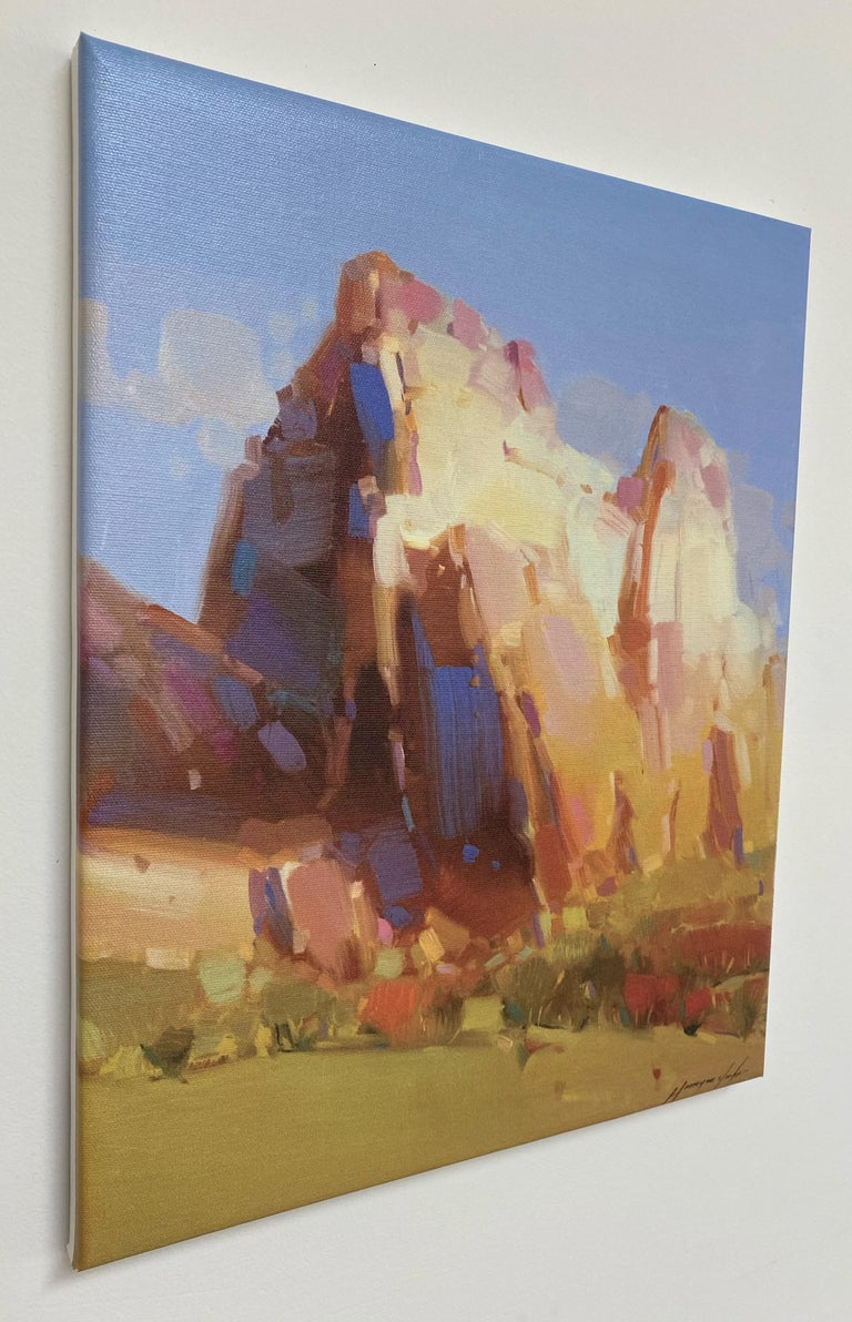 Cliff Mountain, Print on Canvas - Brown Landscape Painting by Vahe Yeremyan
