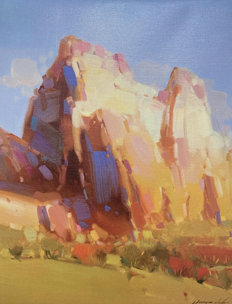 Vahe Yeremyan Landscape Painting - Cliff Mountain, Print on Canvas