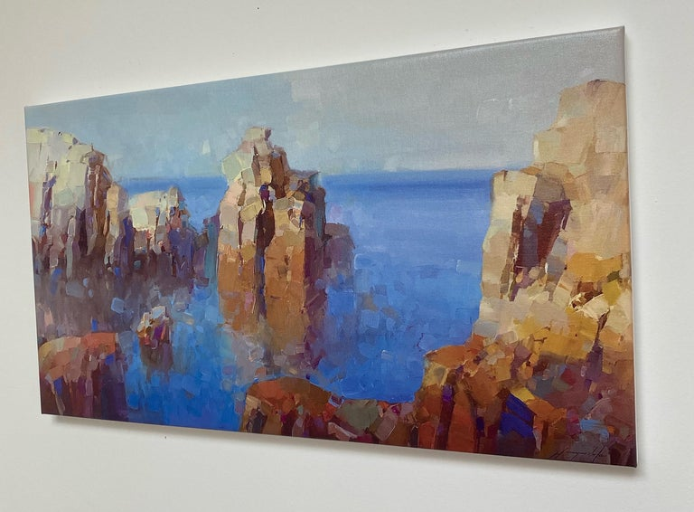 Cliffs, Print on Canvas - Impressionist Painting by Vahe Yeremyan