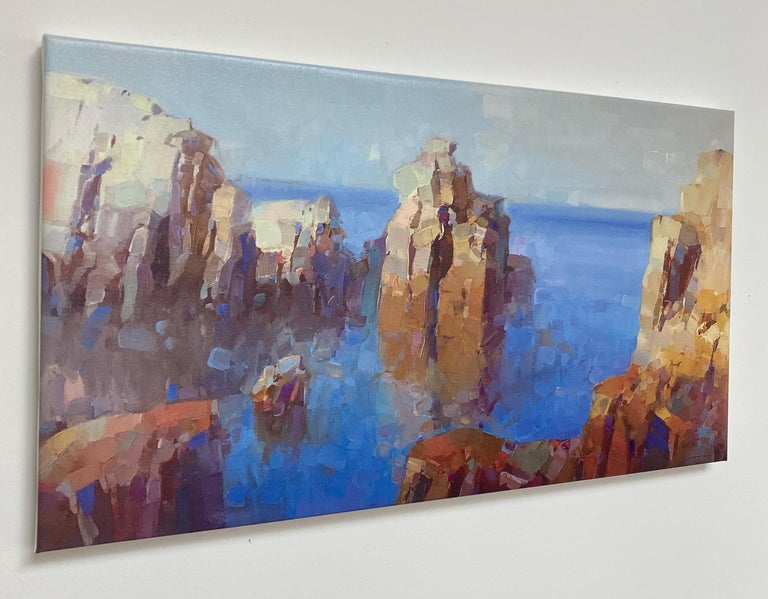 Cliffs, Print on Canvas - Gray Still-Life Painting by Vahe Yeremyan