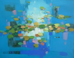 Cobalt Pond, Original oil Painting, Ready to Hang