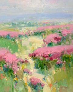 Crimson Valley, Original Oil Painting, Handmade Artwork