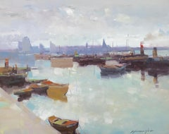 Factory Harbor, Original Oil Painting, Handmade artwork