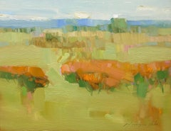 Flowers Valley, Landscape Original Oil Painting, Handmade Artwork