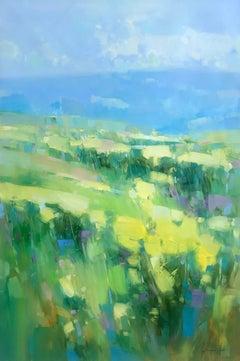 Flowers Valley, Original Oil Painting, Handmade artwork