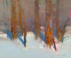 Forest Trees, Original Oil Painting, Handmade Artwork