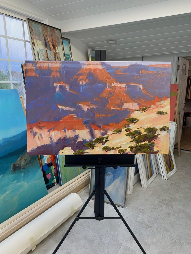 Grand Canyon, Original oil Painting, Ready to Hang - Gray Landscape Painting by Vahe Yeremyan
