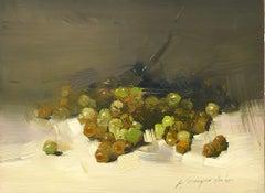 Grapes, Still Life Original Oil Painting, Handmade Artwork