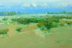 Green Field, Original Oil Painting, Handmade artwork
