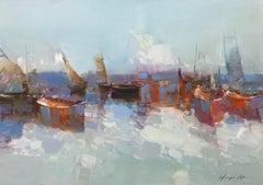 Harbor, Original Oil Painting on Canvas