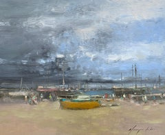 Harbor,  Original oil Painting, Ready to Hang