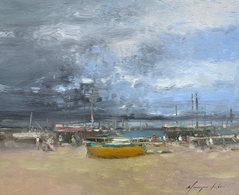 Vahe Yeremyan Landscape Painting - Harbor,  Original oil Painting, Ready to Hang