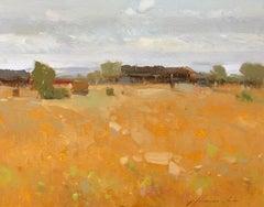 Harvest, Landscape Original Oil Painting, Handmade Artwork
