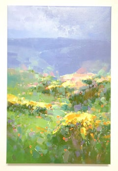 Hill of Flowers Print on Canvas