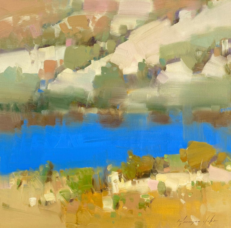Vahe Yeremyan Landscape Painting - Lake Side, Original oil Painting, Ready to Hang
