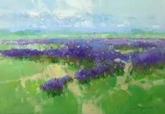 Lavenders, Landscape Original Oil Painting, Handmade Artwork