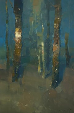 Light in Forest, Landscape Oil painting