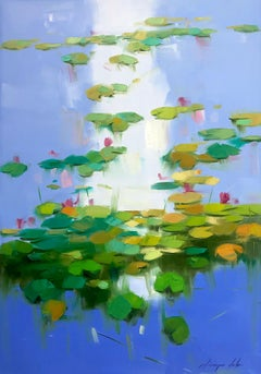 Lilies Pond, Original Oil Painting, Handmade Artwork