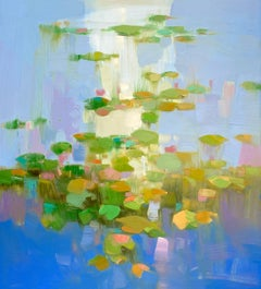 Lilies Pond, Original Oil Painting, Handmade Artwork