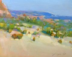 Mountain View, Landscape Original Oil Painting, Handmade Artwork
