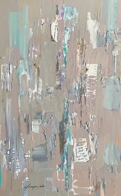 Neutral Construction, Abstract Original Oil Painting