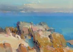 Ocean Cliffs Original Oil Painting, Handmade Artwork
