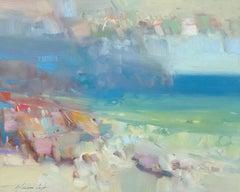 Ocean Side, Original Oil Painting, Handmade artwork